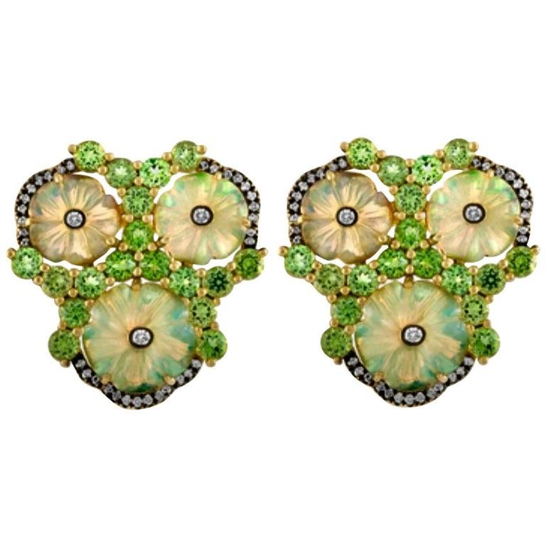 Carved Opal Mint Garnet Diamond Gold Clip Post Earrings