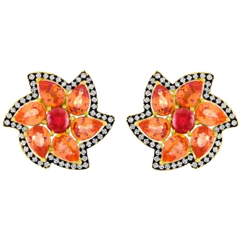 Specitite Garnet Red Spinel Diamond Gold Earrings