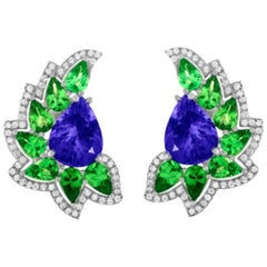 Cresent Moon Tanzanite Mint Green Garnet Diamond Earrings