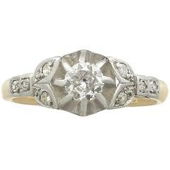 1920s 0.35 Carat Diamond 18 Karat Yellow Gold Solitaire Engagement Ring