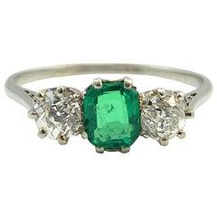 Art Deco Engagement Ring, Emerald Diamond Three-Stone, Platinum