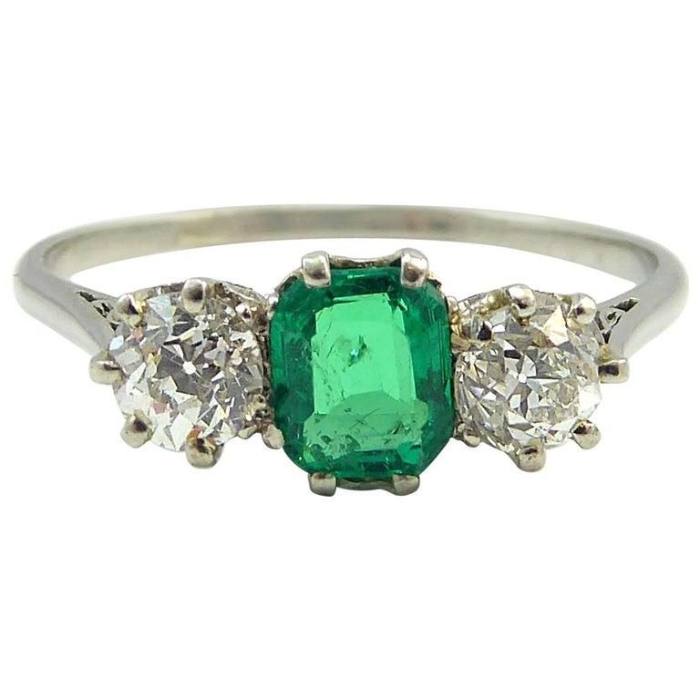 Art deco engagement ring emerald diamond three stone for Art craft engagement rings