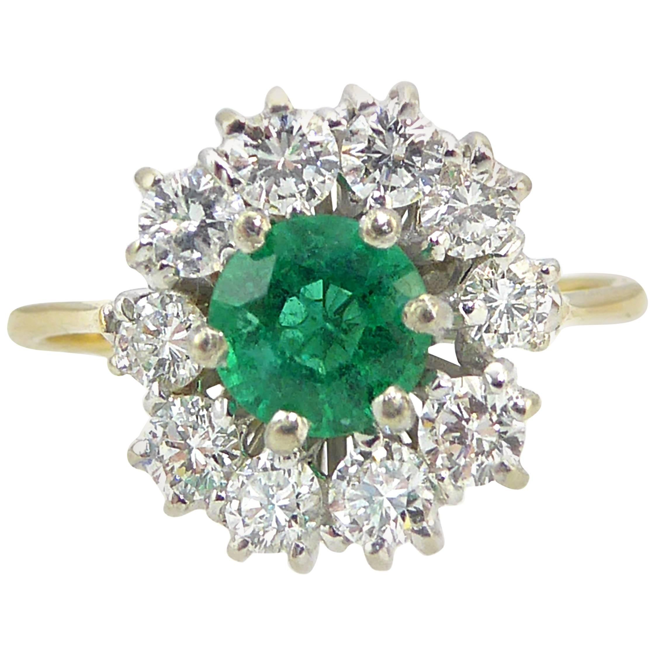 1970s Vintage Emerald Diamond Cluster Ring, Ballerina Style Cocktail Ring