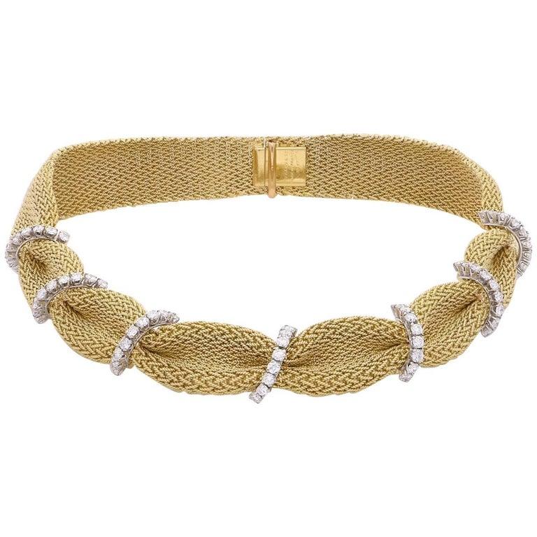 Tiffany & Co. 1950 Woven Gold Fabric Diamond Necklace 1