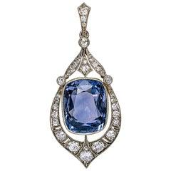 Rare 12.47 Carat Natural Ceylon Sapphire Diamond Art Deco Pendant