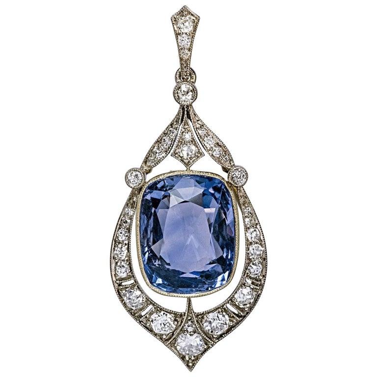 Rare 12.47 Carat Natural Ceylon Sapphire Diamond Art Deco Pendant For Sale