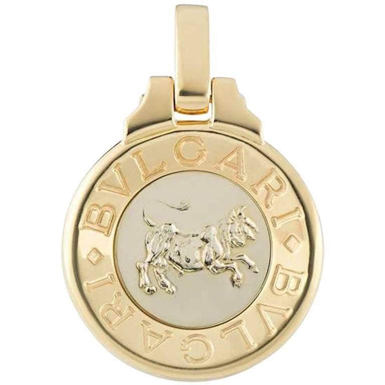 Bulgari Taurus Zodiac Gold Pendant For Sale