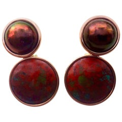 Michael Kneebone Bronze Mobe Pearl Red Jasper Pink Gold Drop Earrings