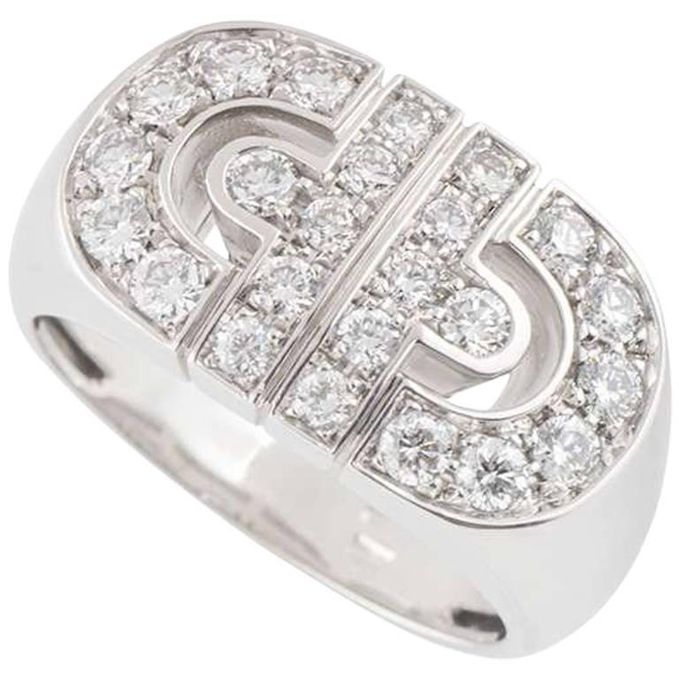 Bulgari White Gold Diamond Parentesi Ring
