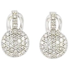 White Gold Diamond Earrings 1.09 Carat