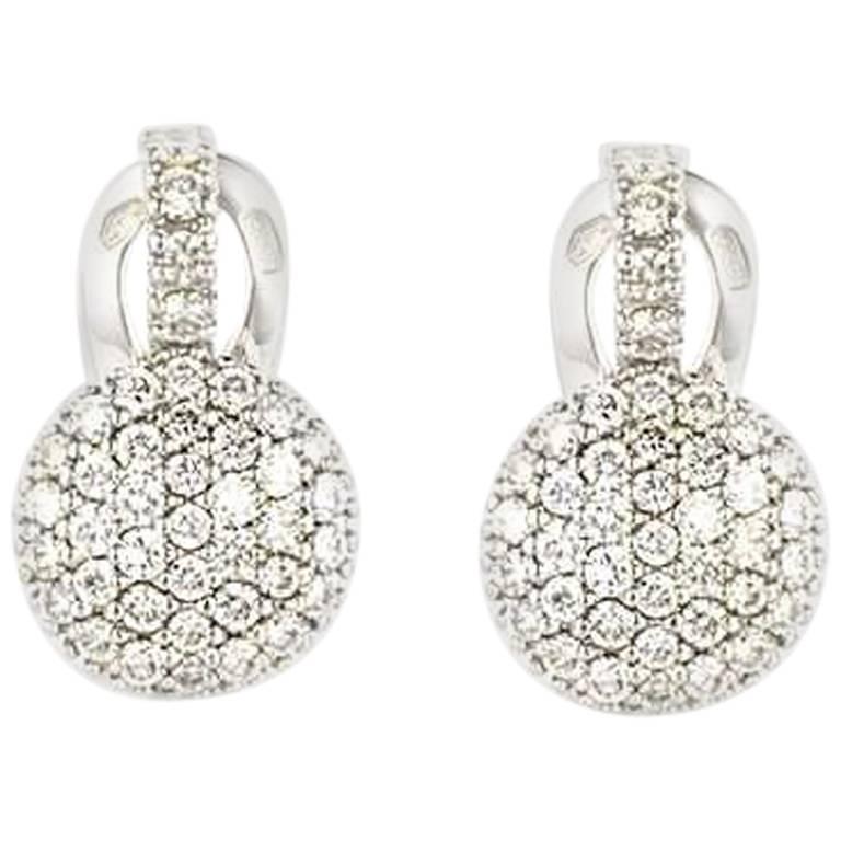 White Gold Diamond Earrings 1.09 Carat