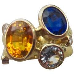"Michael Kneebone Yellow Blue Silver Sapphires Diamond Double ""Leah"" Ring"