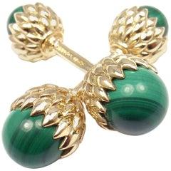 Tiffany & Co. Jean Schlumberger Acorn Malachite Yellow Gold Cufflinks