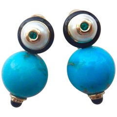 Michael Kneebone Sleeping Beauty Turquoise Pearl Emerald Onyx Drop Earrings