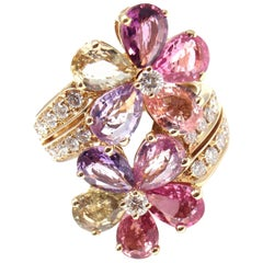 Bulgari Fancy Color Sapphire Diamond Gold Flower Cocktail Ring