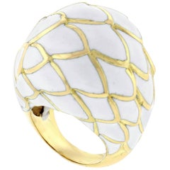 David Webb White Enamel Dome Ring