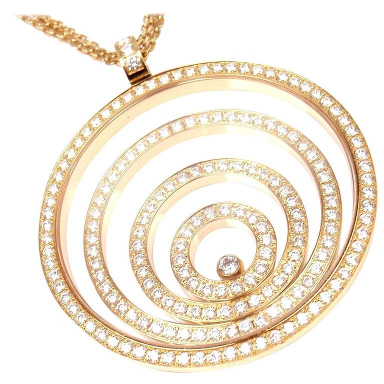 Chopard Happy Spirit Diamond Yellow Gold Large Pendant Necklace