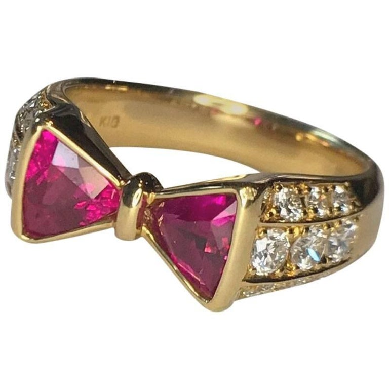 "Ruby Diamond ""Bowtie"" Gold Ring"
