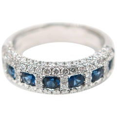 Blue Sapphire Diamond White Gold Band