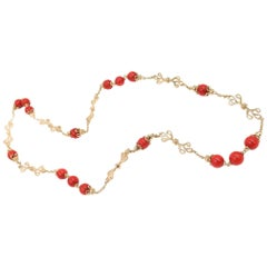 Gold and Coral Endless Necklace