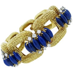 Striking La Triomphe Lapis Lazuli Diamond Gold Bracelet