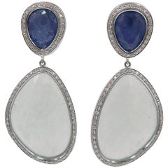 Aquamarine and Tanzanite White Gold Drop Earrings