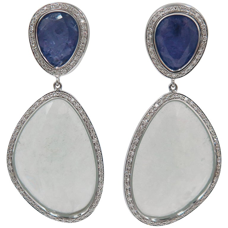 63538eb86 Aquamarine and Tanzanite White Gold Drop Earrings For Sale at 1stdibs