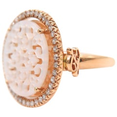 Rose Gold Openwork Mother-of-Pearl Diamond Ring