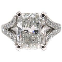 GIA Certified 5.01 Carat Cushion Diamond Engagement Ring