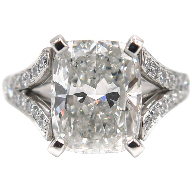 GIA Certified 5.01 Carat Cushion Diamond Engagement Ring