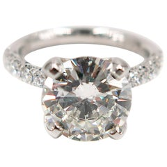 GIA Certified 4.07 Carat Round Diamond Engagement Ring