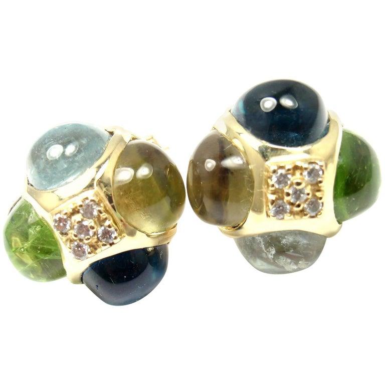Laura Munder Diamond Peridot Aquamarine Topaz Yellow Gold Earrings For Sale