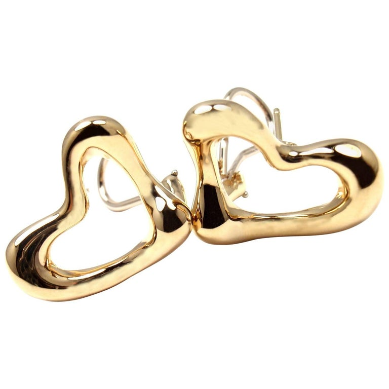 Tiffany & Co. Elsa Peretti Open Heart Yellow Gold Earrings