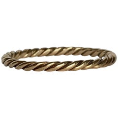 Fine Twisted Rope Braided Gold Ring Vintage Stacking Band or Charm Holder