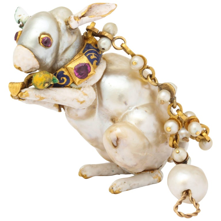 19th Century Renaissance Revival Natural Pearl Gold Rabbit Pendant 1