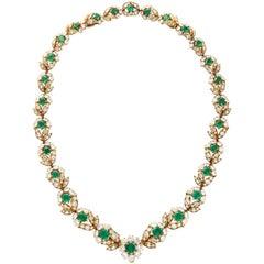 Van Cleef & Arpels Diamond Emerald Necklace Converts to Bracelets