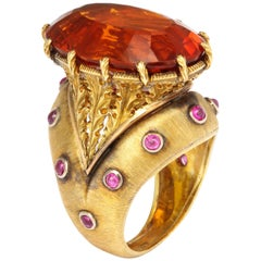 Buccellati Citrine Ruby Gold Cocktail Ring