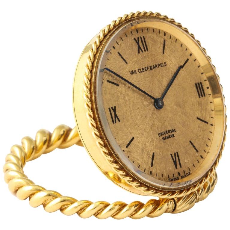Van Cleef & Arpels Gold Desk Travel Clock