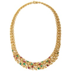1960 Van Cleef & Arpels Paris Multi Gem Gold Necklace