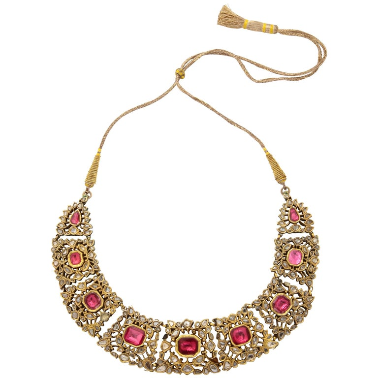 Antique Mughal Indian Spinel Diamond Jaipur Enamel Necklace For Sale