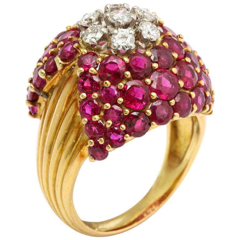 1950s Cartier Ruby Diamond Gold Cocktail Ring