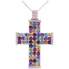 Diamond and Multicolor Gemstone Gold Cross Pendant