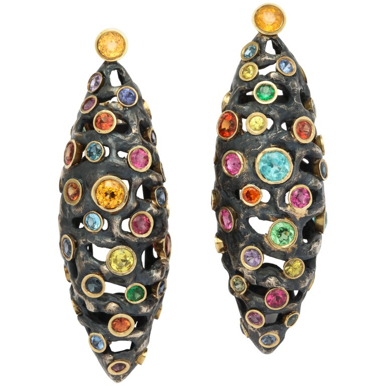 """Midnight Eyes"" Multi-Color Gemstone Earrings by Marilyn Cooperman"