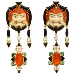 Marilyn Cooperman Japanese God of Fortune Earrings