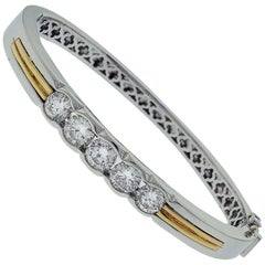 Platinum and Gold Diamond Bangle Bracelet