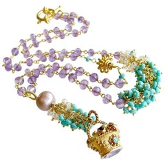 Lucy Fob Sleeping Beauty Turquoise Amethyst Mystic Moonstone Necklace
