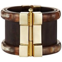Fouché Bespoke Horn Wood Emerald Sapphire Ruby Cuff Bracelet