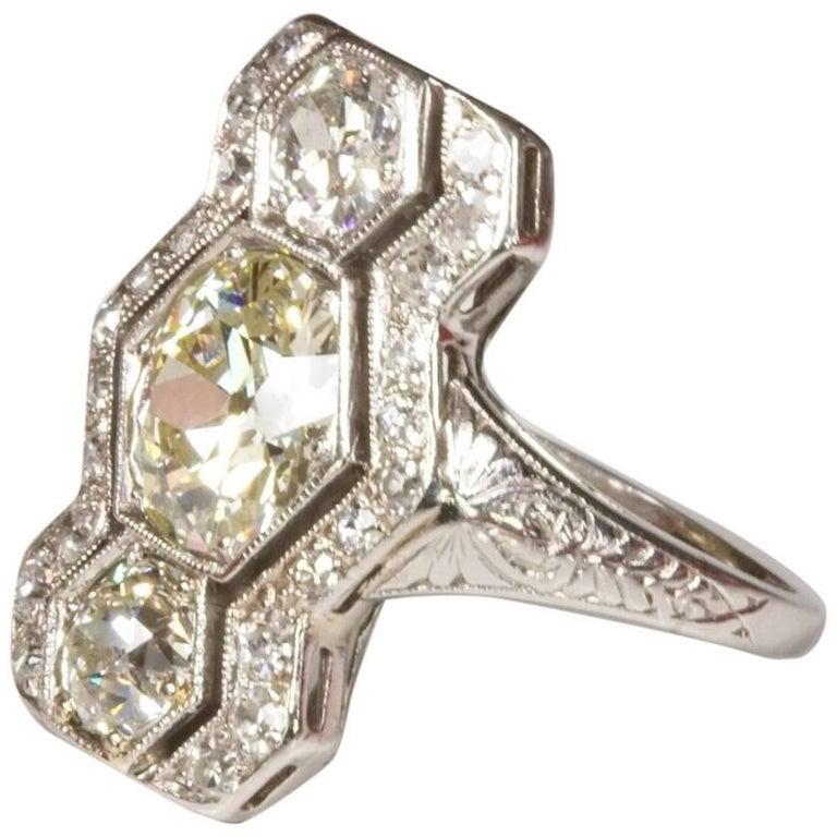 Art Deco Platinum Hexagon 3.01 Carat Diamond Ring