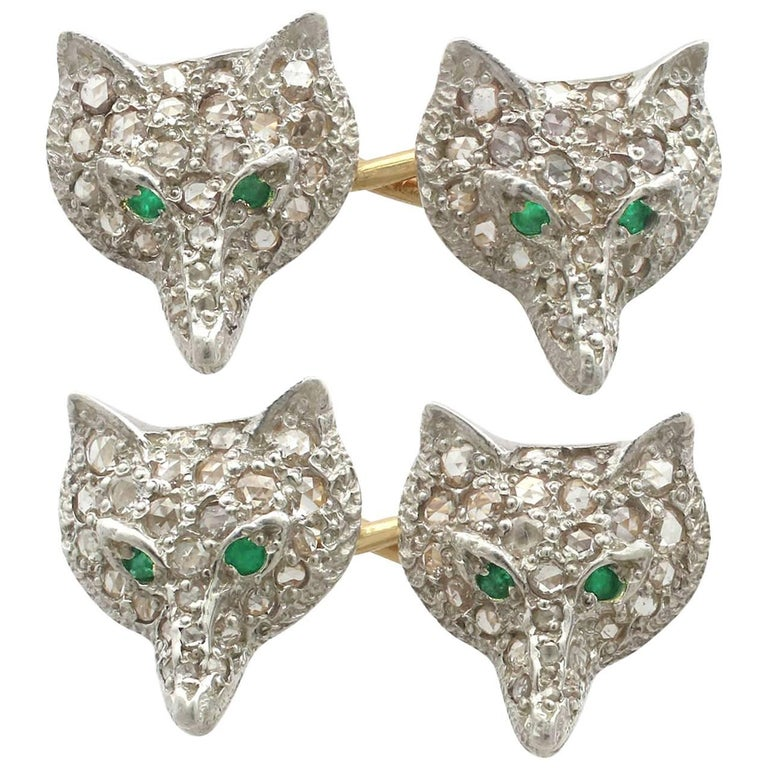 Diamond and Emerald Silver Fox Head Cufflinks For Sale