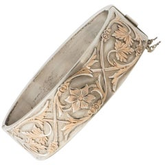 French Art Nouveau Silver and Gold Overlay Bangle by Auguste Savard